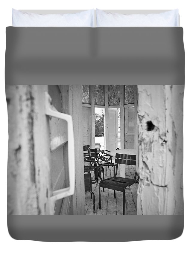 Black And White Duvet Cover featuring the photograph Chairs And Doors by Sophia Pagan