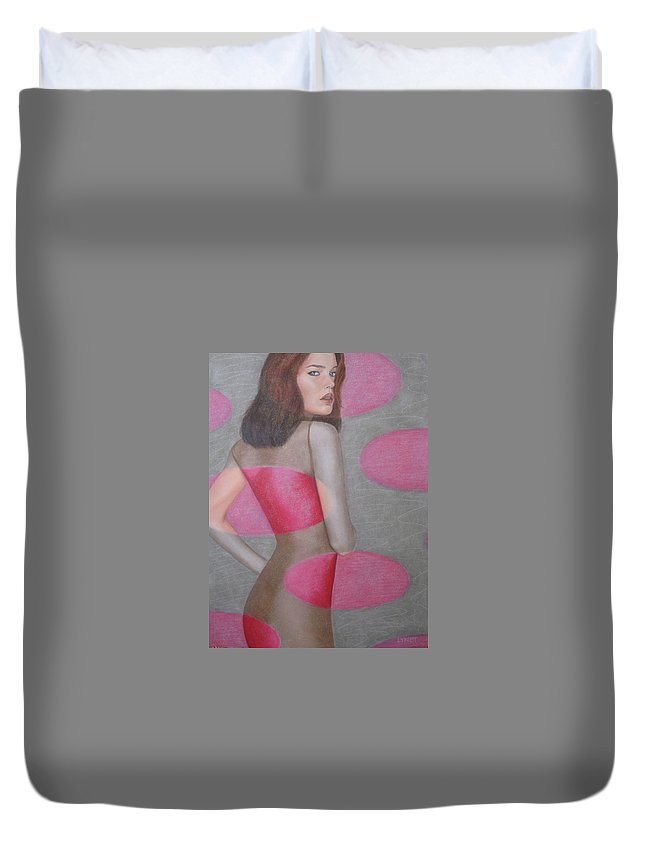 Woman Duvet Cover featuring the painting Chameleon by Lynet McDonald