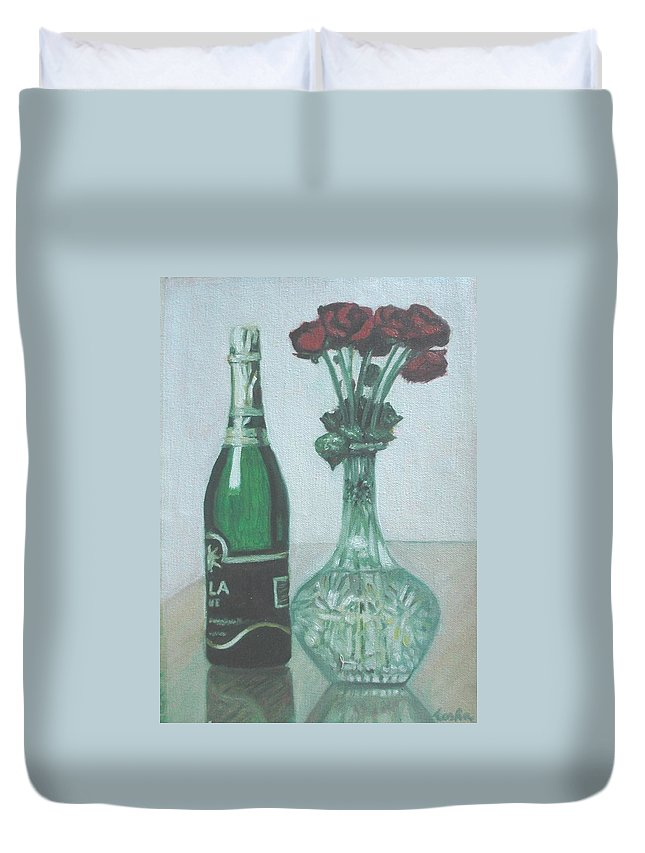 Champagne Duvet Cover featuring the painting Champagne And Roses by Usha Shantharam