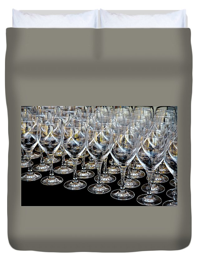 Flute Duvet Cover featuring the photograph Champagne Army by Stephen Mitchell