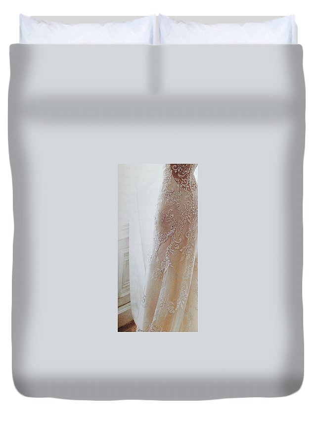 Duvet Cover featuring the photograph Champagne Lace by Jacqueline Manos