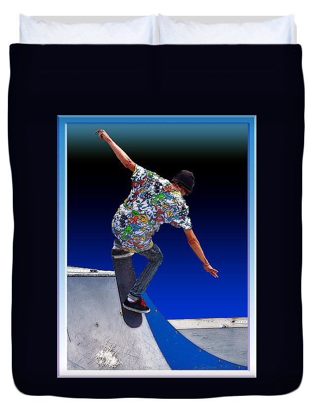 Champion Duvet Cover featuring the digital art Champion Skater by Terry Anderson