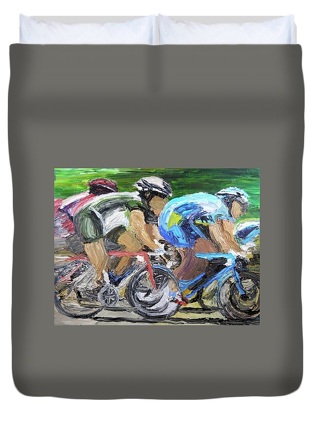 Bike Racing Duvet Cover featuring the painting Champions Peddling To Victory by Michael Lee