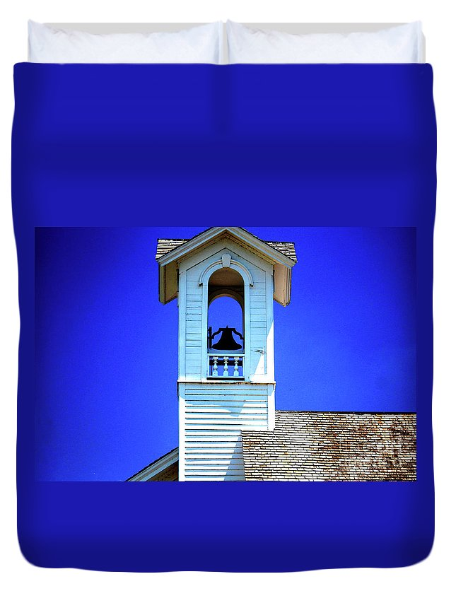 Illinois Duvet Cover featuring the photograph Chana School Bell by Laura Birr Brown