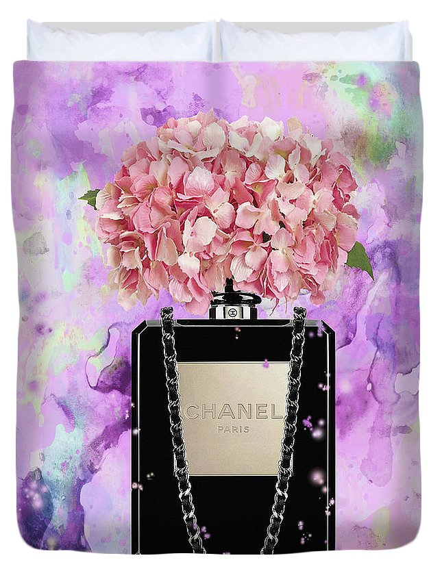 baaef759024811 Chanel Poster Duvet Cover featuring the painting chanel bag perfume with  Pink hydragenia by Del Art
