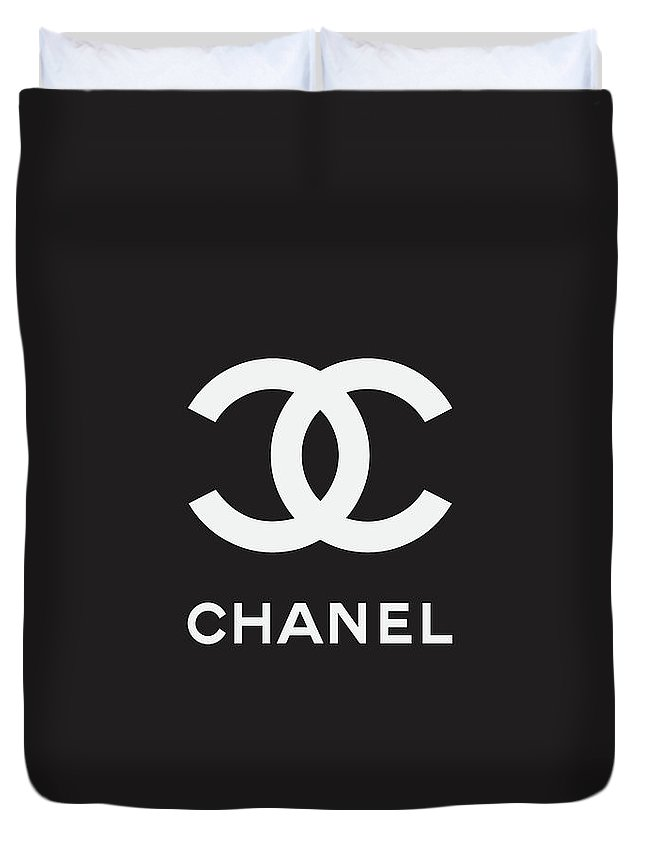 Chanel Duvet Cover featuring the digital art Chanel - Black And White 03 - Lifestyle And Fashion by TUSCAN Afternoon