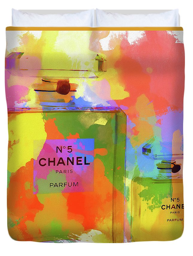 Coco Chanel Paint Splatter Color Duvet Cover featuring the painting Chanel Five Watercolor by Dan Sproul