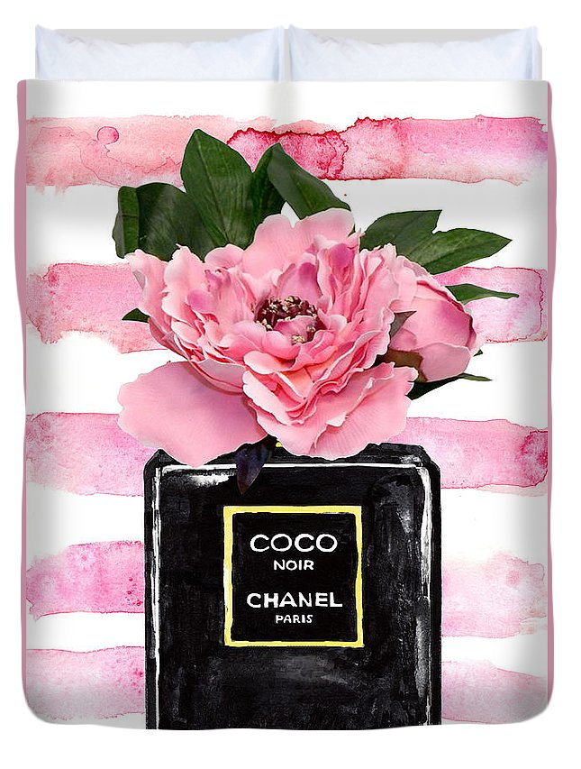 Chanel Duvet Cover featuring the painting Chanel Noir Perfume With Pink Peony by Green Palace