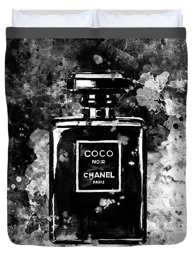 6e12179d2280 Chanel Print Duvet Cover featuring the painting Chanel Poster Chanel Print  Black And White Chanel Noir