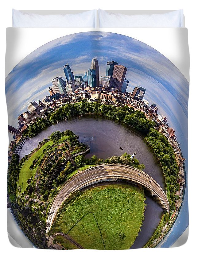 Minneapolis Duvet Cover featuring the photograph Change Your Perspective Minneapolis White Surround by Christopher Broste