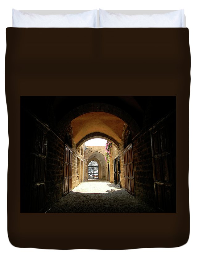 Marwan Duvet Cover featuring the photograph Chaos Beyond The Gate by Marwan George Khoury