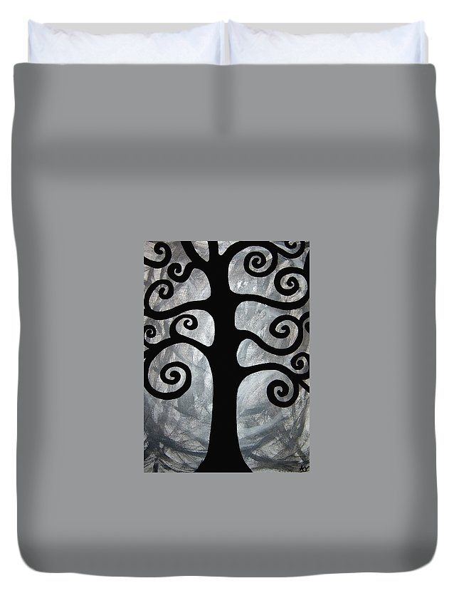 Abstract Tree Duvet Cover featuring the painting Chaos Tree by Angelina Vick