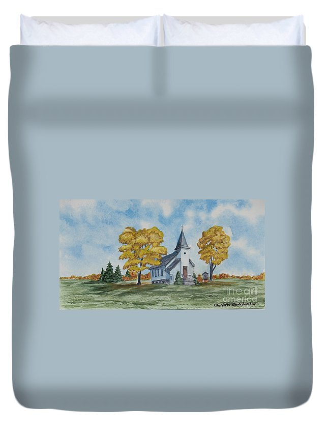 Fall Duvet Cover featuring the painting Chapel In Fall by Charlotte Blanchard