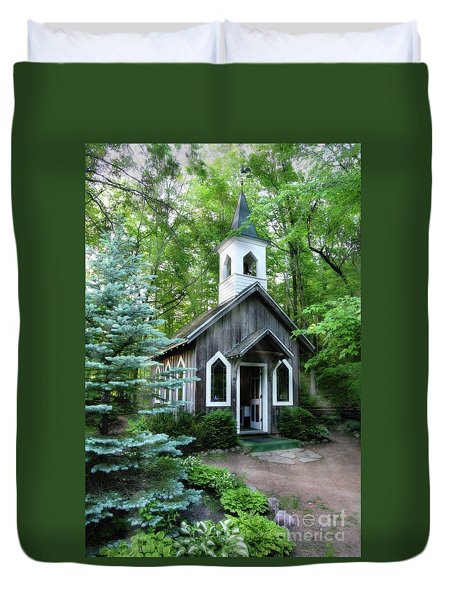 Chapel Duvet Cover featuring the photograph Chapel In The Woods by Joel Witmeyer