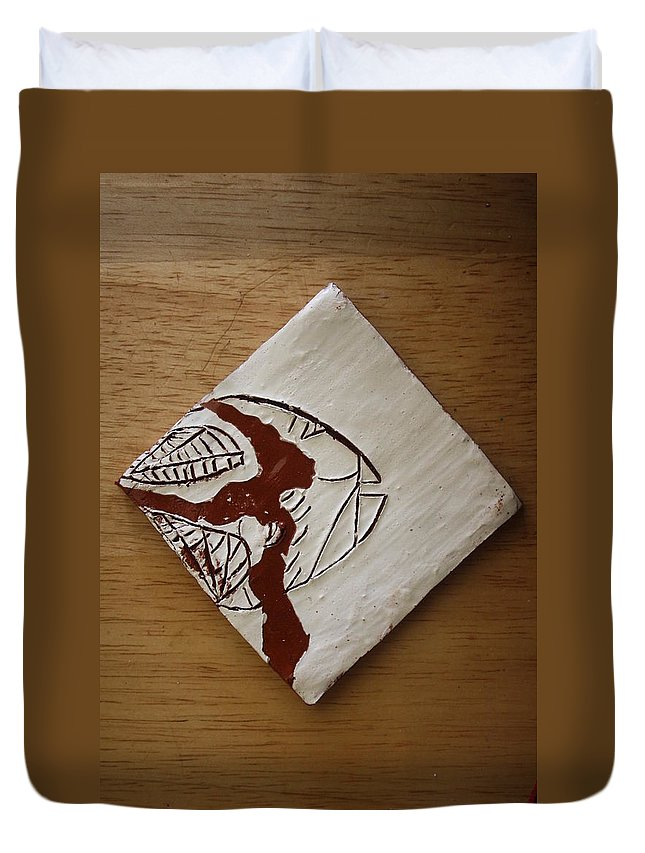 Jesus Duvet Cover featuring the ceramic art Character - Tile by Gloria Ssali