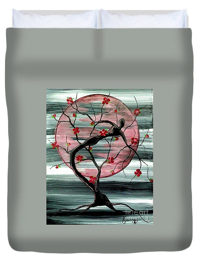 Tree Silhouette Duvet Cover featuring the painting Character by Kym Loc