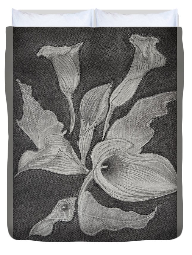 Nature Duvet Cover featuring the drawing Charcoal by Gabriela Bacter