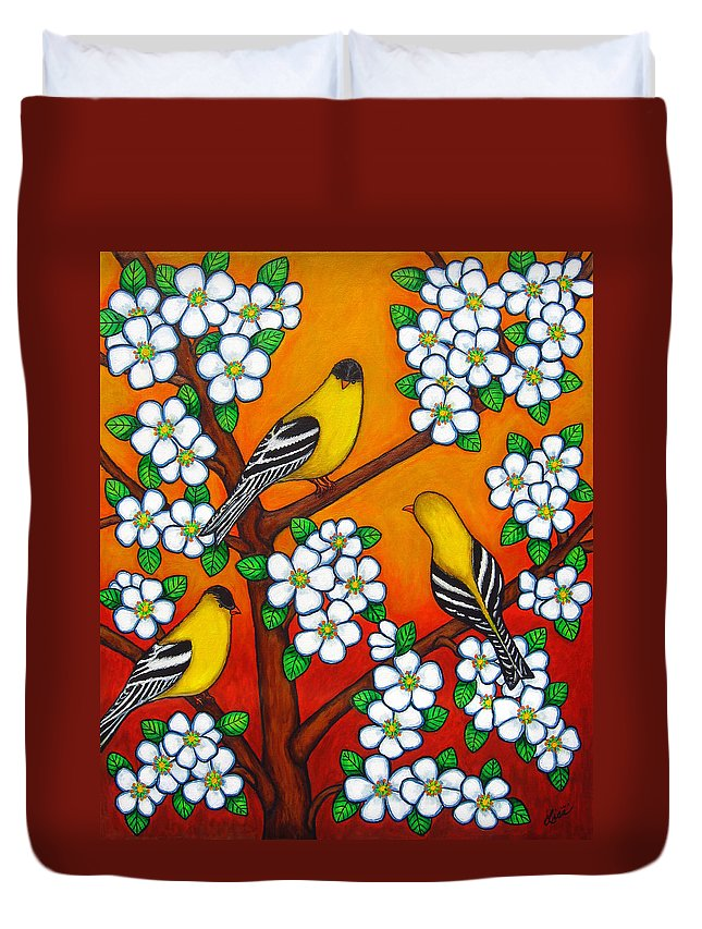 Goldfinch Duvet Cover featuring the painting Chardonnay Sunset by Lisa Lorenz
