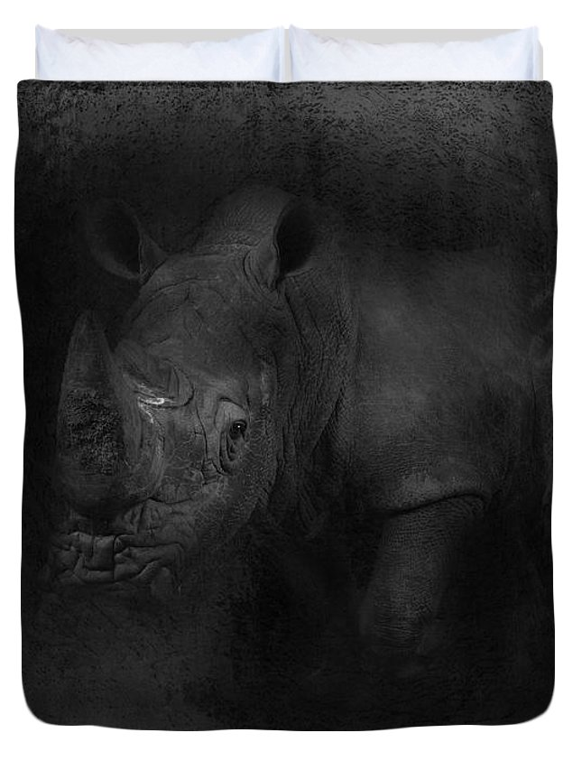 Imia Design Duvet Cover featuring the digital art Charging Rhino No 02 by Maria Astedt