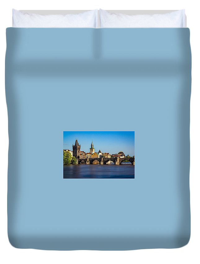 Charles Bridge Duvet Cover featuring the digital art Charles Bridge by Dorothy Binder