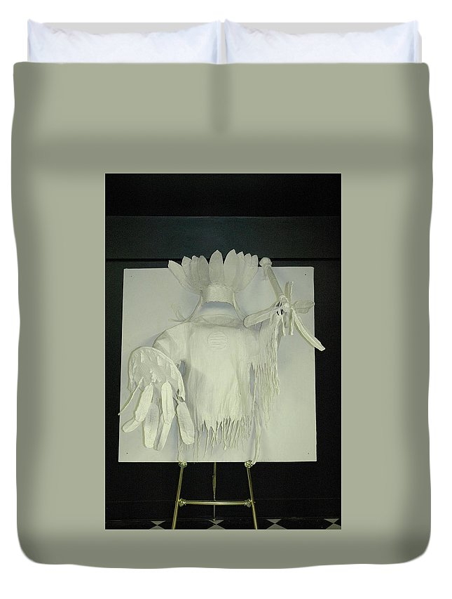 Duvet Cover featuring the sculpture Charles Hall - Creative Arts Program -spirits Of The Plains by Wayne Pruse