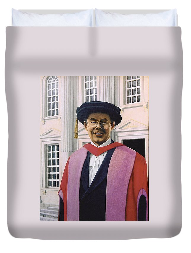 Portrait Duvet Cover featuring the painting Charles Harpum Receiving Doctorate Of Law by Richard Harpum