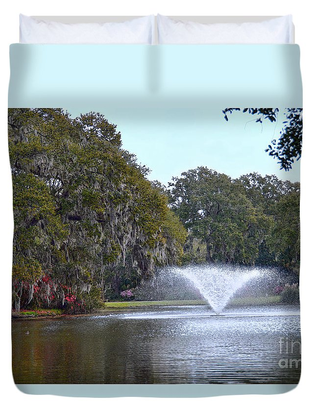 Charleston Duvet Cover featuring the photograph Charles Towne Landing Fountain by Catherine Sherman