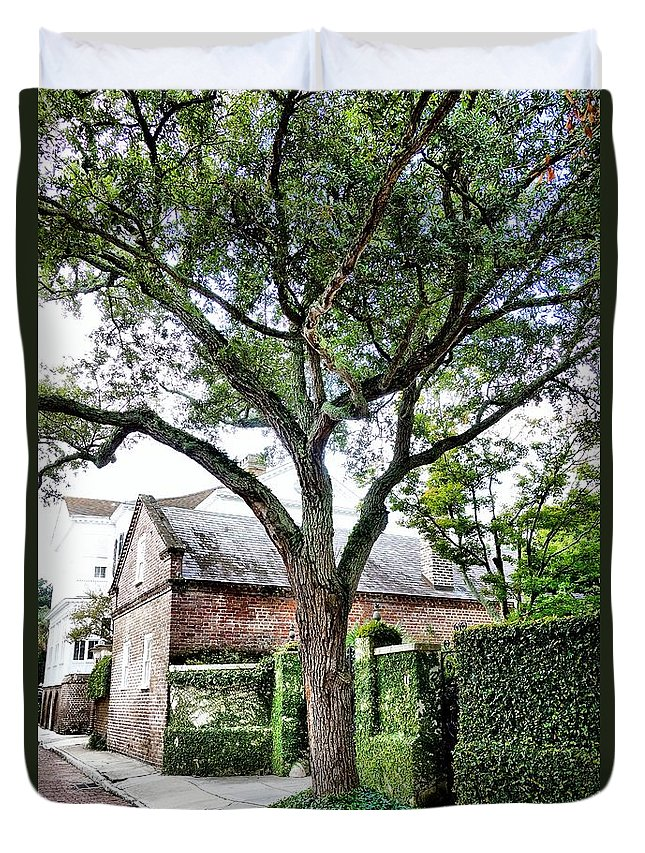 Charleston Duvet Cover featuring the photograph Charleston Church Street Live Oak And Ivy by Anthony Ackerman