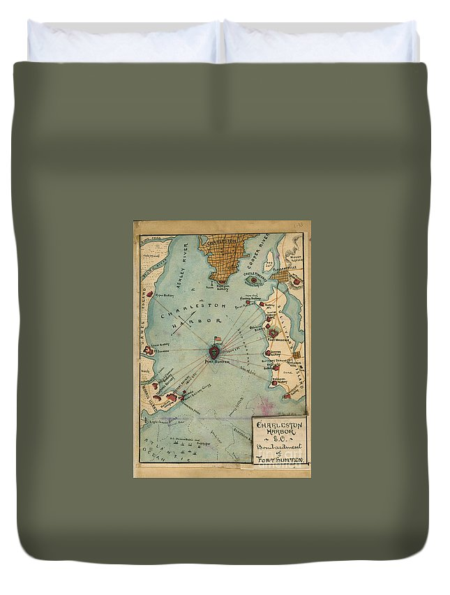 Map Duvet Cover featuring the photograph Charleston Harbor Vintage Map by Dale Powell