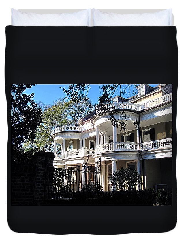 Photography Duvet Cover featuring the photograph Charlestons Beautiful Architecure by Susanne Van Hulst