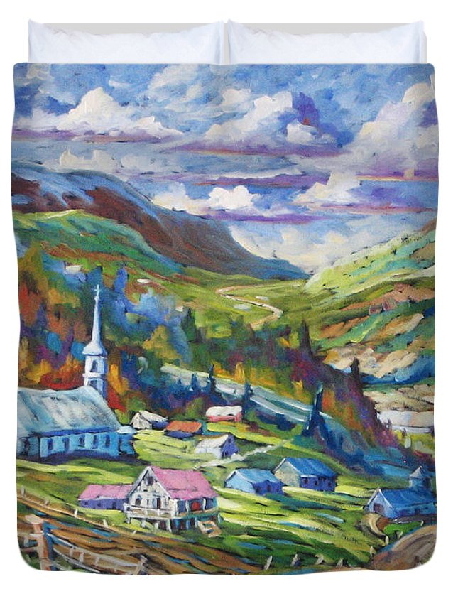 Charlevoix Duvet Cover featuring the painting Charlevoix Inspiration by Richard T Pranke