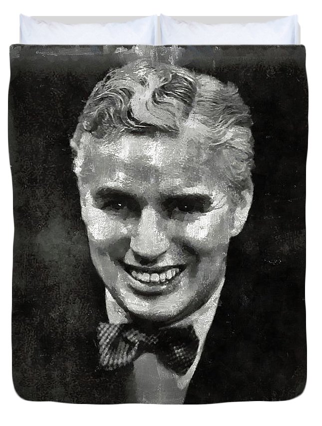 Charlie Duvet Cover featuring the painting Charlie Chaplin Hollywood Legend by Mary Bassett