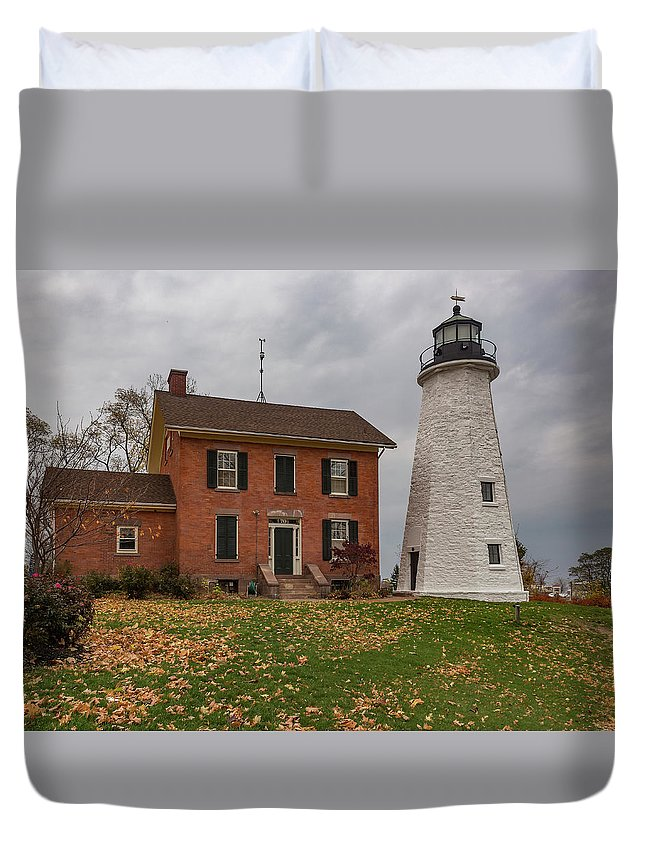 Aid Duvet Cover featuring the mixed media Charlotte-genesee Lighthouse by Capt Gerry Hare