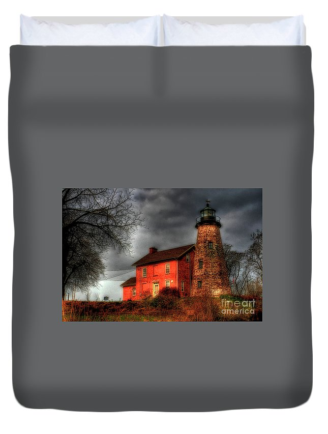 Lighthouse Duvet Cover featuring the photograph Charlotte-genesee Lighthouse by Joel Witmeyer