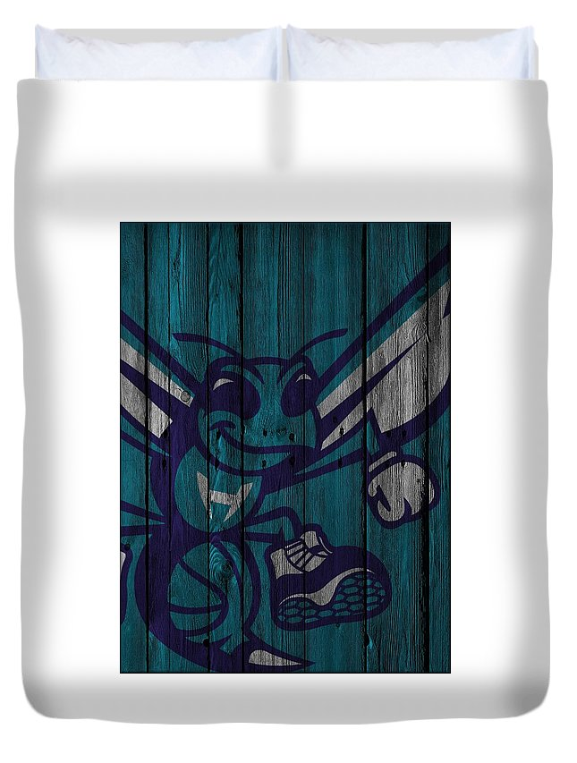Hornets Duvet Cover featuring the photograph Charlotte Hornets Wood Fence by Joe Hamilton