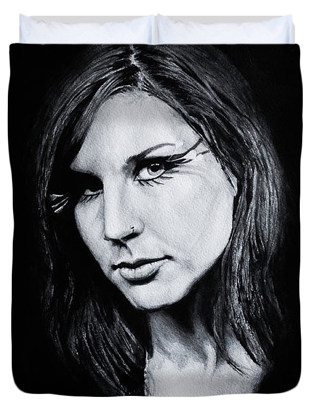 Watercolor Duvet Cover featuring the painting Charlotte Wessels. by Dioptri Art