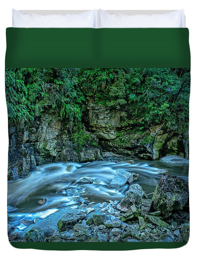 New Zealand Duvet Cover featuring the photograph Charming Creek Walkway 1 by Robert Green