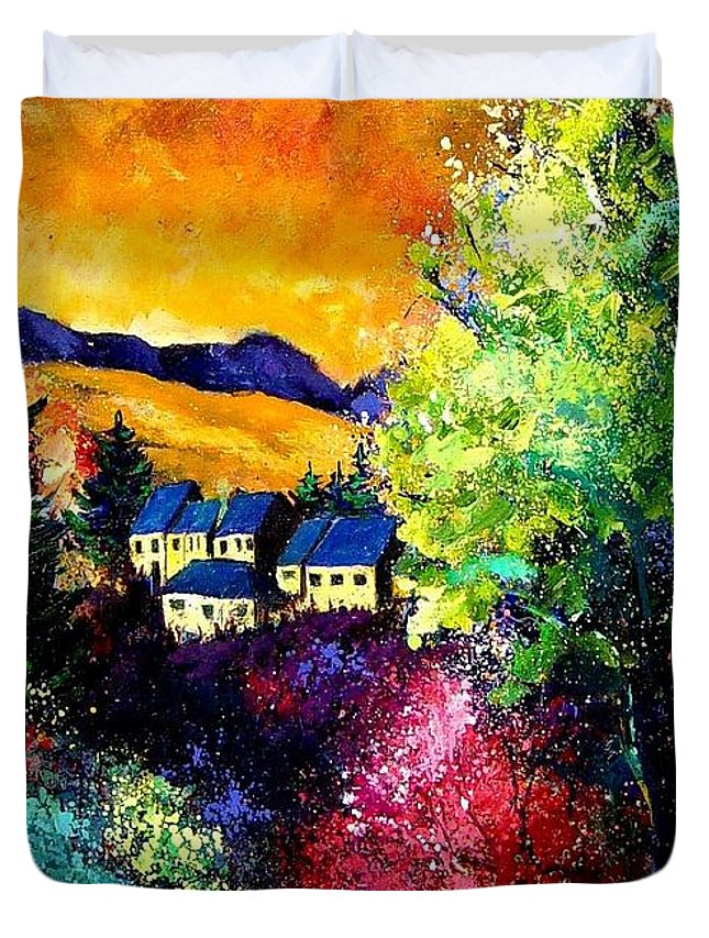 Landscape Duvet Cover featuring the painting Charnoy by Pol Ledent