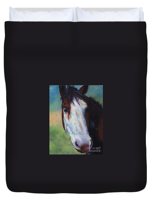 Horse Duvet Cover featuring the painting Charolette by Frances Marino