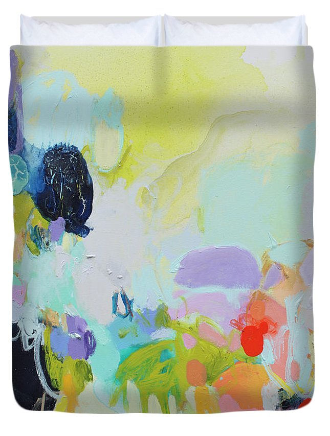 Abstract Duvet Cover featuring the painting Chartreuse Stop by Claire Desjardins