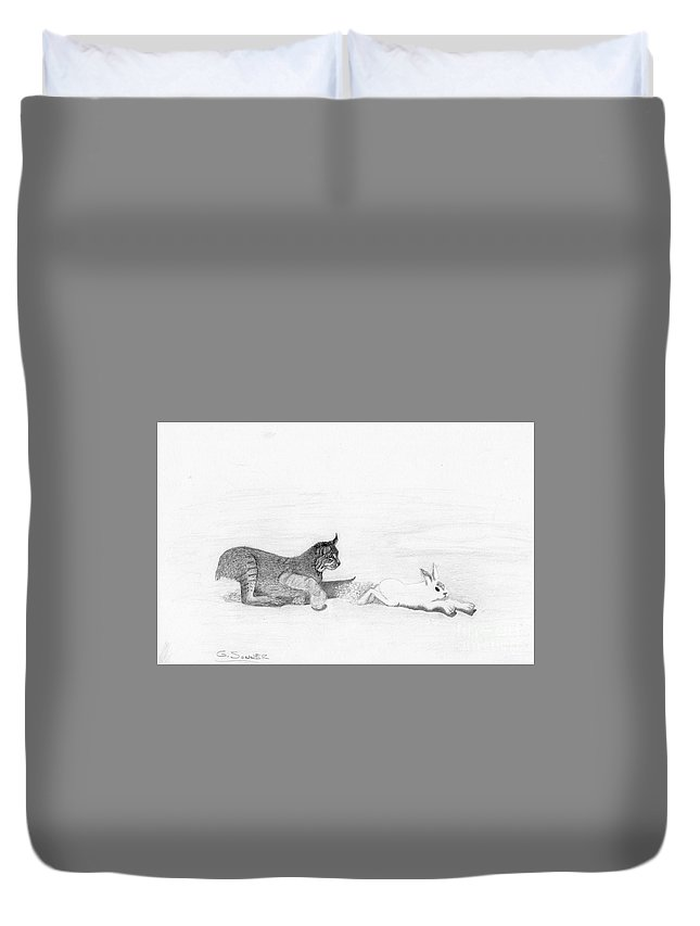 Drawing Duvet Cover featuring the drawing Chase by George Sonner
