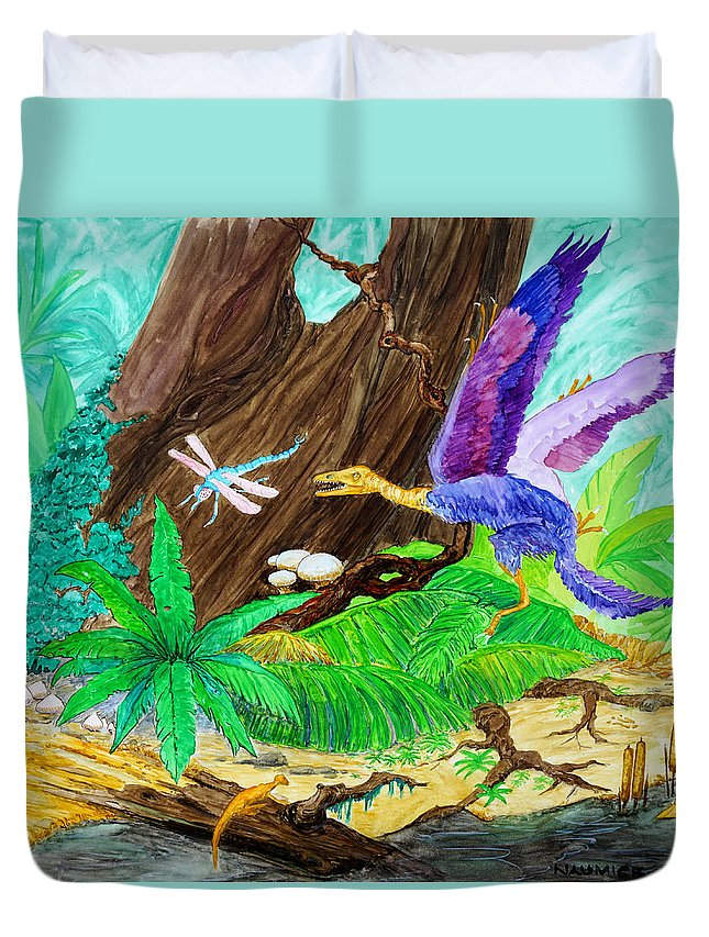 Dinosaur Duvet Cover featuring the painting Chasing Lunch by Dennis Naumick