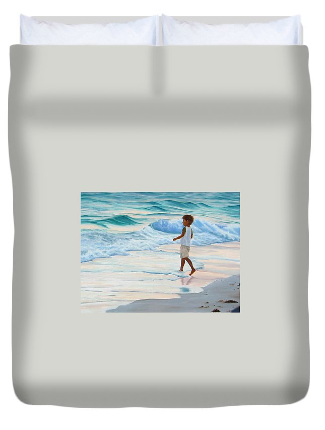 Child Duvet Cover featuring the painting Chasing the Waves by Lea Novak