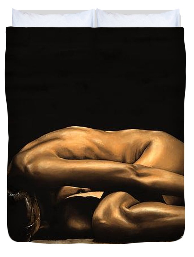 Nude Duvet Cover featuring the painting Chastity by Richard Young