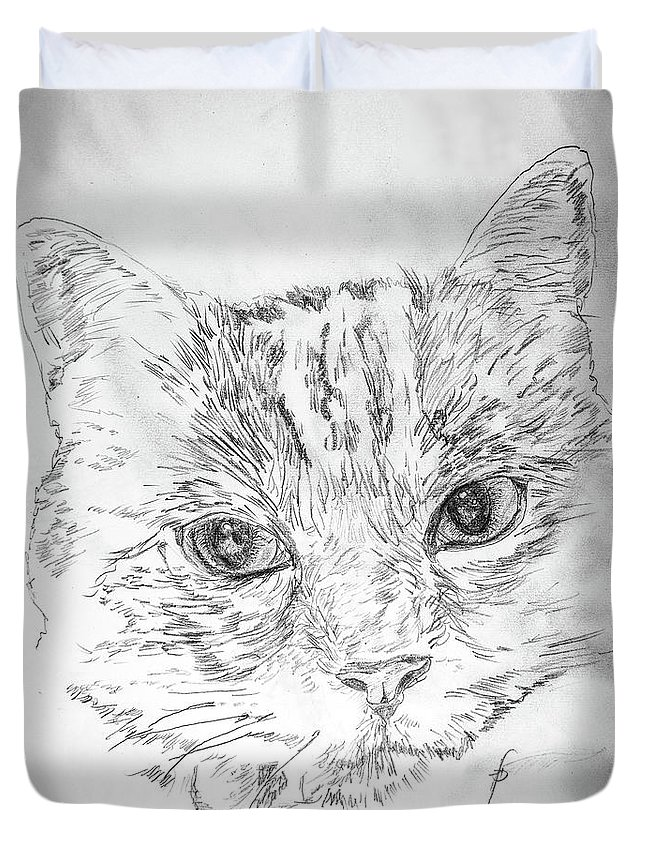 Cat Duvet Cover featuring the drawing Chat Somnolant Resting Cat by George Desire Herman