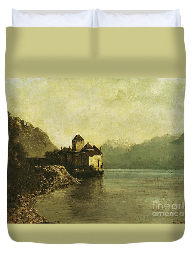 Chateau Duvet Cover featuring the painting Chateau De Chillon by Gustave Courbet