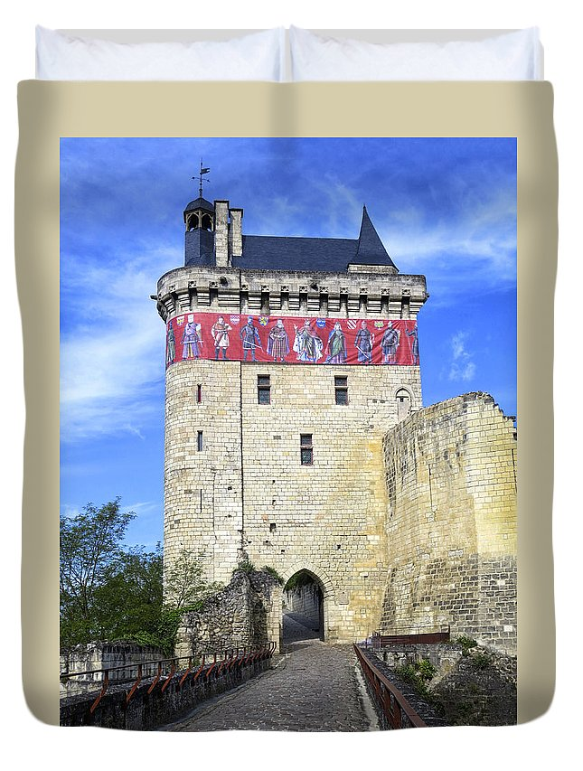 Chinon Duvet Cover featuring the photograph Chateau De Chinon by Dave Mills