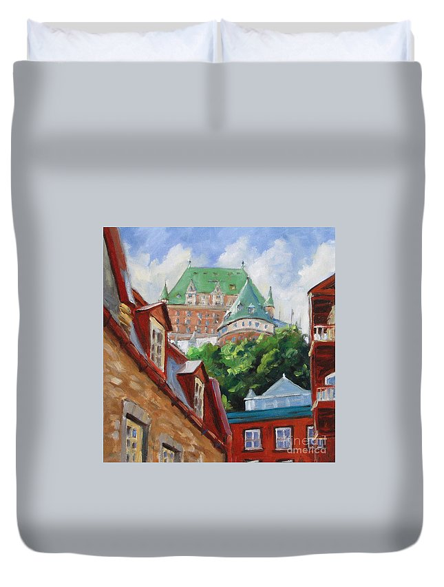 Chateau Frontenac Duvet Cover featuring the painting Chateau Frontenac by Richard T Pranke