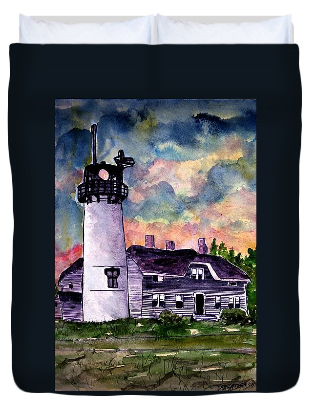 Lighthouse Duvet Cover featuring the painting Chatham Lighthouse Martha's Vineyard Massachuestts Cape Cod Art by Derek Mccrea