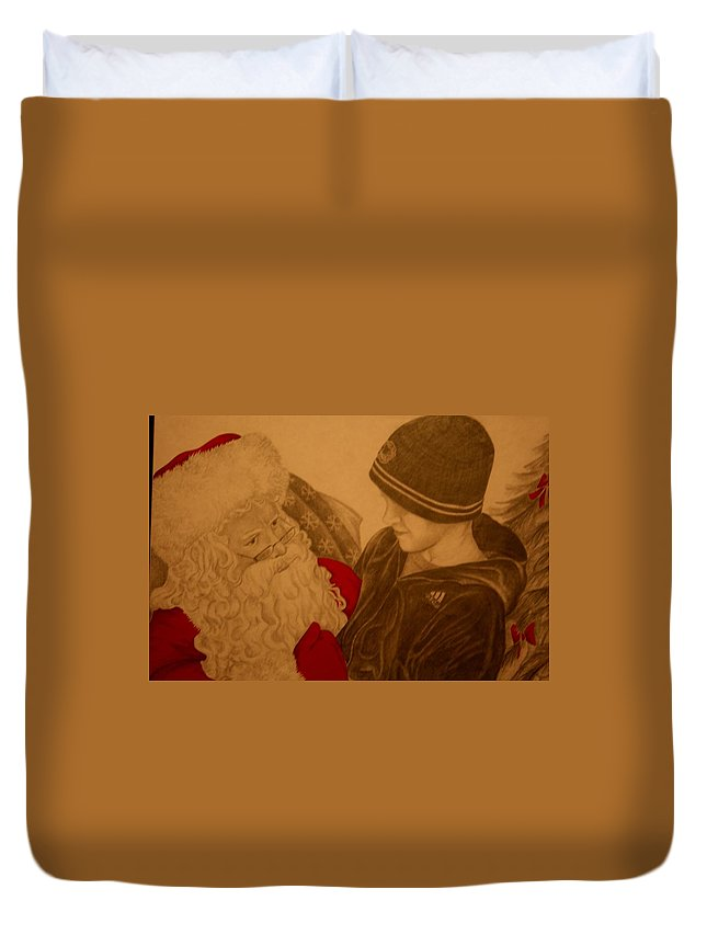 Sants Duvet Cover featuring the drawing Chatting With Santa by Melissa Wiater Chaney
